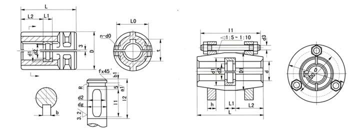 平键套筒联轴器_靠两半联轴器表面间的摩擦力传递转矩,利用平键作辅助联接.